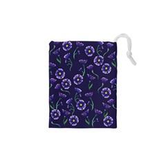Floral Violet Purple Drawstring Pouches (xs)