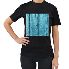 Denim Jeans Fabric Texture Women s T Shirt (black) (two Sided)