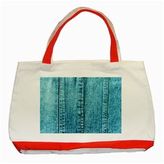 Denim Jeans Fabric Texture Classic Tote Bag (red)