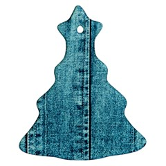 Denim Jeans Fabric Texture Ornament (christmas Tree)