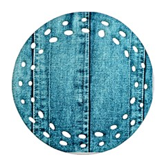 Denim Jeans Fabric Texture Round Filigree Ornament (two Sides)
