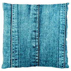 Denim Jeans Fabric Texture Large Flano Cushion Case (one Side)