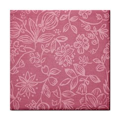 Floral Rose Flower Embroidery Pattern Tile Coasters
