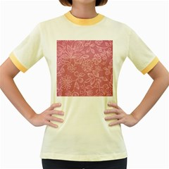 Floral Rose Flower Embroidery Pattern Women s Fitted Ringer T Shirts