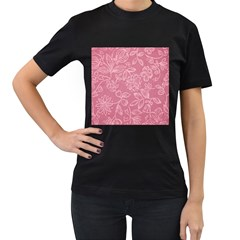 Floral Rose Flower Embroidery Pattern Women s T Shirt (black)