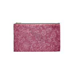Floral Rose Flower Embroidery Pattern Cosmetic Bag (small)
