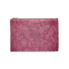 Floral Rose Flower Embroidery Pattern Cosmetic Bag (medium)