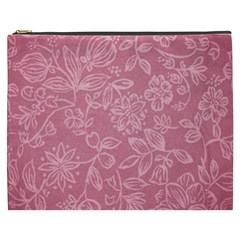 Floral Rose Flower Embroidery Pattern Cosmetic Bag (xxxl)