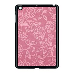 Floral Rose Flower Embroidery Pattern Apple Ipad Mini Case (black)