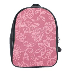 Floral Rose Flower Embroidery Pattern School Bag (xl)