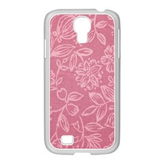 Floral Rose Flower Embroidery Pattern Samsung Galaxy S4 I9500/ I9505 Case (white)