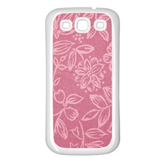 Floral Rose Flower Embroidery Pattern Samsung Galaxy S3 Back Case (white)