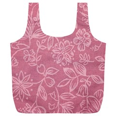 Floral Rose Flower Embroidery Pattern Full Print Recycle Bags (l)