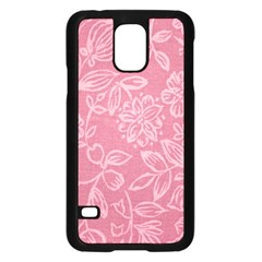 Floral Rose Flower Embroidery Pattern Samsung Galaxy S5 Case (black)