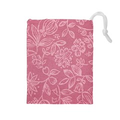 Floral Rose Flower Embroidery Pattern Drawstring Pouches (large)