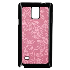 Floral Rose Flower Embroidery Pattern Samsung Galaxy Note 4 Case (black)