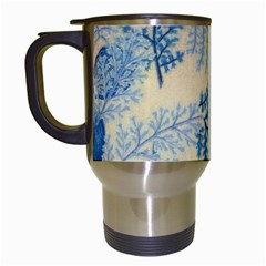 Fabric Embroidery Blue Texture Travel Mugs (white)