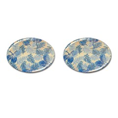 Fabric Embroidery Blue Texture Cufflinks (oval)