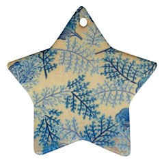 Fabric Embroidery Blue Texture Star Ornament (two Sides)