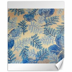 Fabric Embroidery Blue Texture Canvas 11  X 14