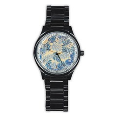 Fabric Embroidery Blue Texture Stainless Steel Round Watch