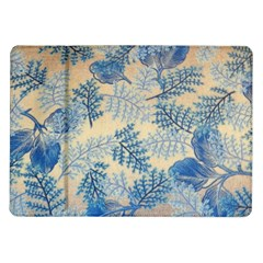 Fabric Embroidery Blue Texture Samsung Galaxy Tab 10 1  P7500 Flip Case