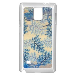 Fabric Embroidery Blue Texture Samsung Galaxy Note 4 Case (white)