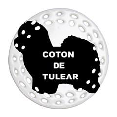 Coton De Tulear Name Silo Round Filigree Ornament (two Sides)