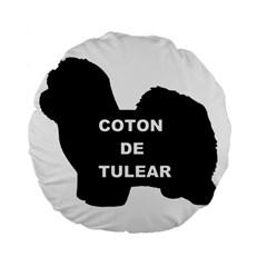 Coton De Tulear Name Silo Standard 15  Premium Flano Round Cushions