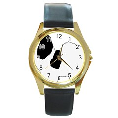Coton De Tulear Silhouette Color Bw Round Gold Metal Watch