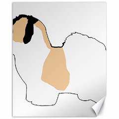 Coton De Tulear Silhouette Color Tri Canvas 16  X 20