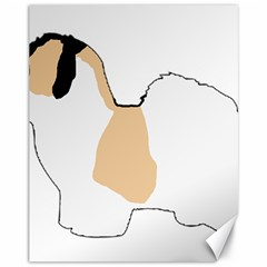 Coton De Tulear Silhouette Color Tri Canvas 11  X 14