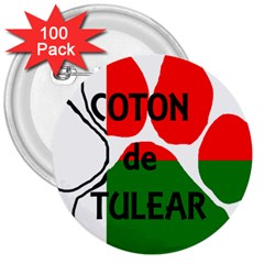 Coton Name Madagascar Paw Flag 3  Buttons (100 Pack)