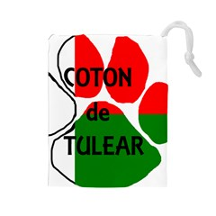 Coton Name Madagascar Paw Flag Drawstring Pouches (large)