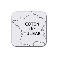 France Outline W Name Rubber Square Coaster (4 Pack)