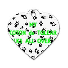 My Coton Walks On Me Dog Tag Heart (two Sides)