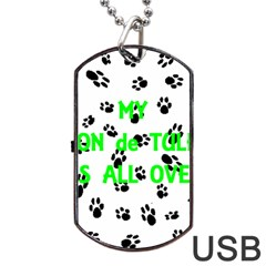 My Coton Walks On Me Dog Tag Usb Flash (one Side)