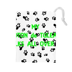 My Coton Walks On Me Drawstring Pouches (large)