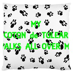 My Coton Walks On Me Large Flano Cushion Case (one Side)