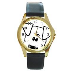 Peeping Coton Round Gold Metal Watch