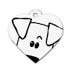 Peeping Coton Dog Tag Heart (two Sides)