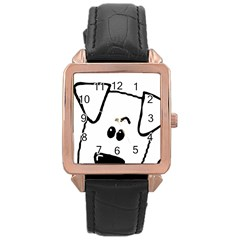Peeping Coton Rose Gold Leather Watch