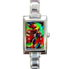 Flowers With Color Kick 1 Rectangle Italian Charm Watch