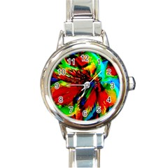 Flowers With Color Kick 1 Round Italian Charm Watch