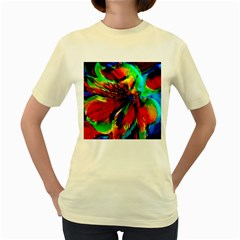 Flowers With Color Kick 1 Women s Yellow T Shirt