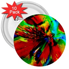 Flowers With Color Kick 1 3  Buttons (10 Pack)