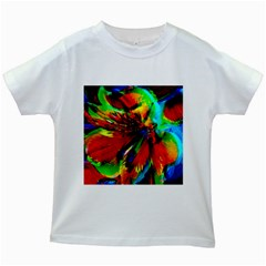 Flowers With Color Kick 1 Kids White T Shirts