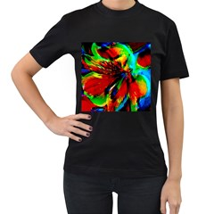 Flowers With Color Kick 1 Women s T Shirt (black) (two Sided)
