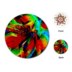 Flowers With Color Kick 1 Playing Cards (round)