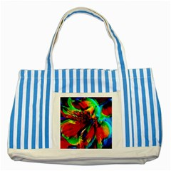 Flowers With Color Kick 1 Striped Blue Tote Bag